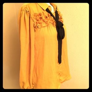 Crescent & Willough blouse, mustard yellow, size S
